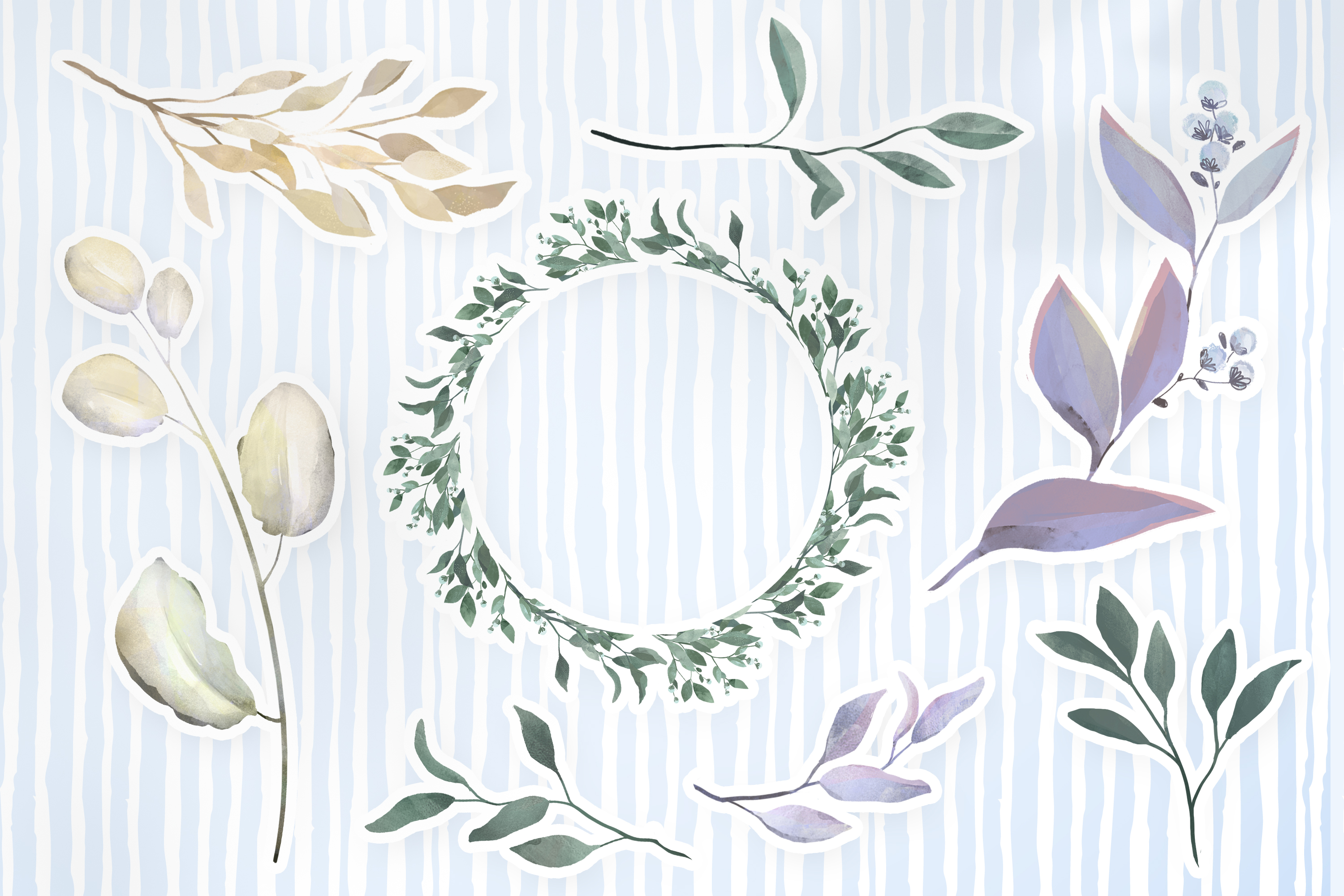 Download Free Wreaths And Leaves Illustration Set Graphic By Digi Potwor for Cricut Explore, Silhouette and other cutting machines.