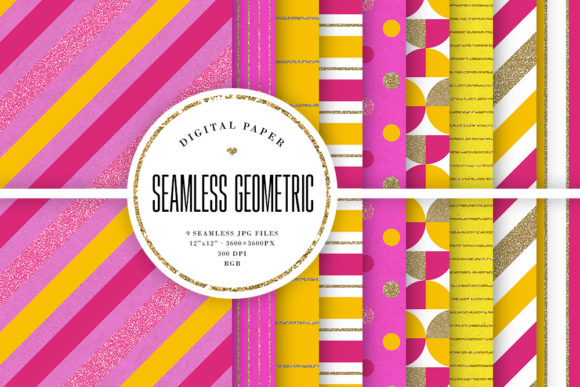 Print on Demand: Yellow & Hot Pink Seamless Patterns Graphic Backgrounds By Sabina Leja