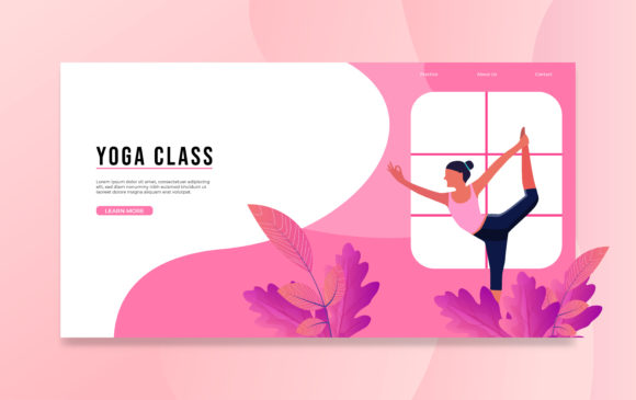 Yoga Class Landing Page Design. Graphic Free Download