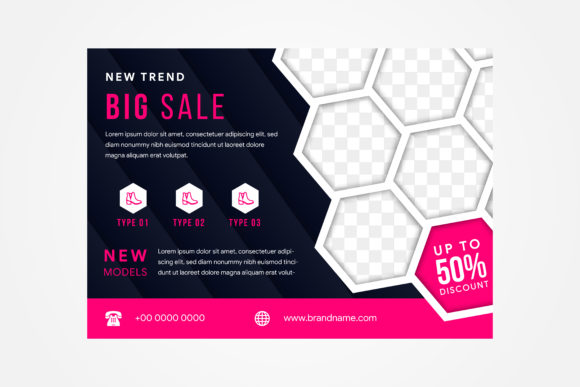Print on Demand: Horizontal Flyer Fashion Hexagon Pink Graphic Graphic Templates By noory.shopper