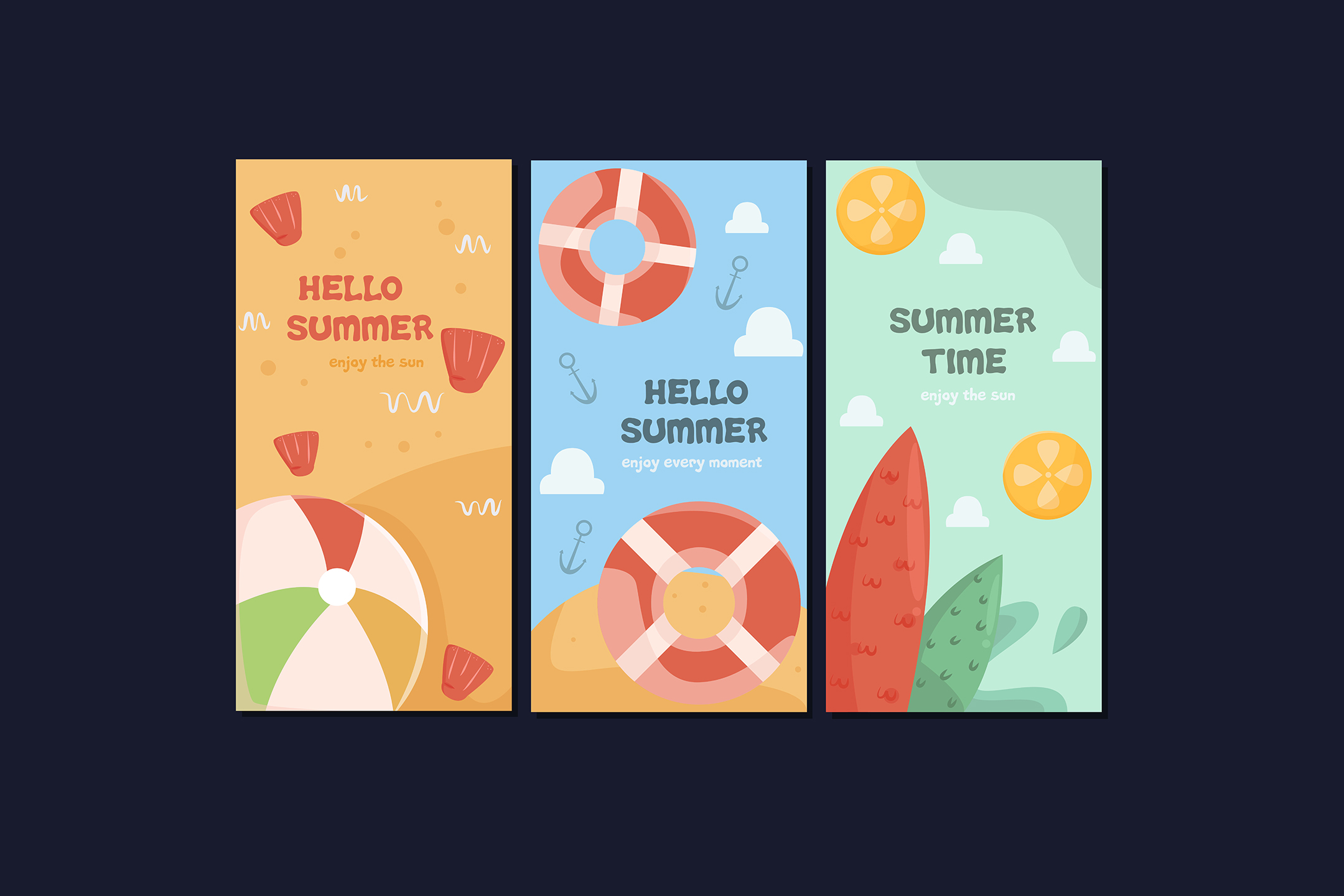 Download Free Summer Cards Collection Template Graphic By Aprlmp276 Creative for Cricut Explore, Silhouette and other cutting machines.