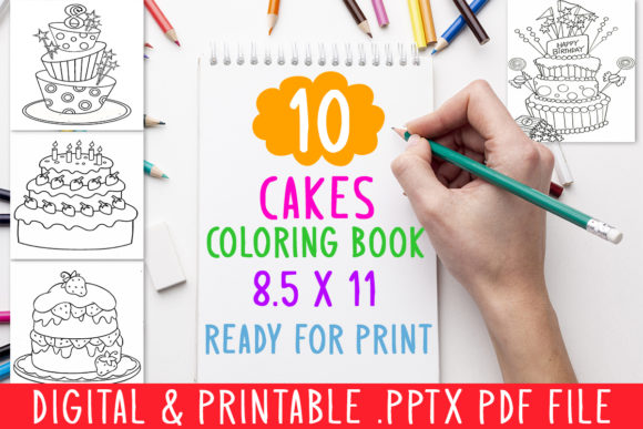 Download Free 10 Cakes Coloring Book For Kids Graphic Graphic By for Cricut Explore, Silhouette and other cutting machines.