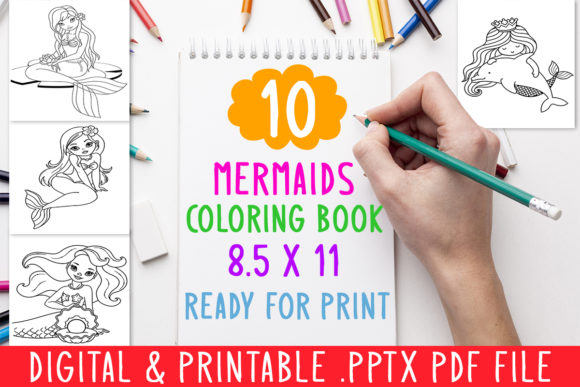 10 Mermaids Coloring Book for Kids Graphic Coloring Pages & Books Kids By DesignsBundles - Image 1