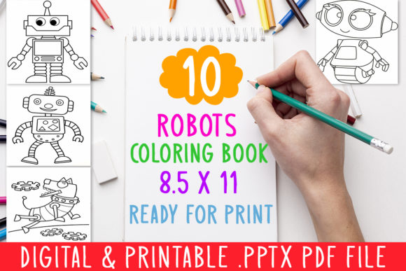 Download Free 10 Robots Coloring Book For Kids Graphic Graphic By Designsbundles Creative Fabrica for Cricut Explore, Silhouette and other cutting machines.