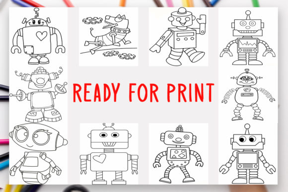Print on Demand: 10 Robots Coloring Book for Kids Graphic Graphic Coloring Pages & Books Kids By DesignsBundles - Image 2