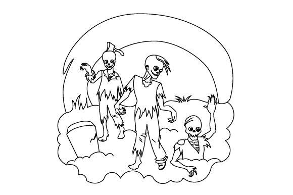 Zombie Coloring Page Halloween Plotterdatei von Creative Fabrica Crafts