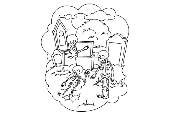 Skeleton Coloring Page Halloween Craft Cut File By Creative Fabrica Crafts - Image 1