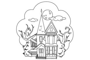 Haunted House Coloring Page Halloween Craft Cut File By Creative Fabrica Crafts