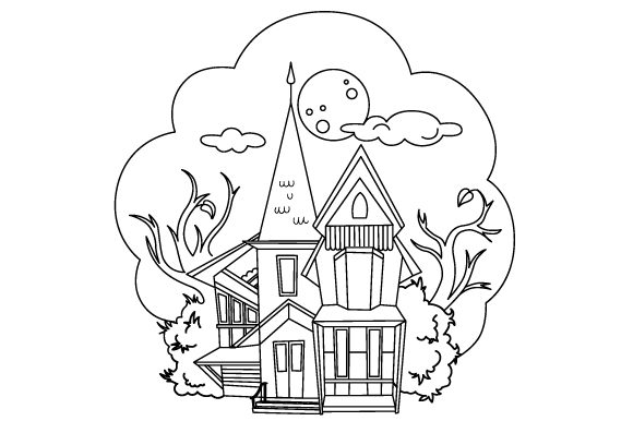 Haunted House Coloring Page Halloween Archivo de Corte Craft Por Creative Fabrica Crafts