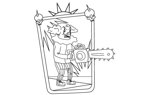 Download Free Creepy Clown Coloring Page Svg Cut File By Creative Fabrica for Cricut Explore, Silhouette and other cutting machines.