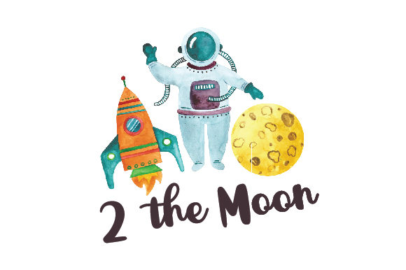 2 the Moon Geburtstag Plotterdatei von Creative Fabrica Crafts