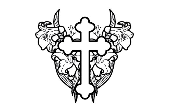 Download Free Cross With Florals Coloring Page Svg Cut File By Creative for Cricut Explore, Silhouette and other cutting machines.