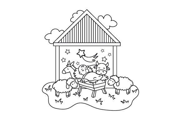Download Free Nativity Scene Coloring Page Svg Cut File By Creative Fabrica for Cricut Explore, Silhouette and other cutting machines.