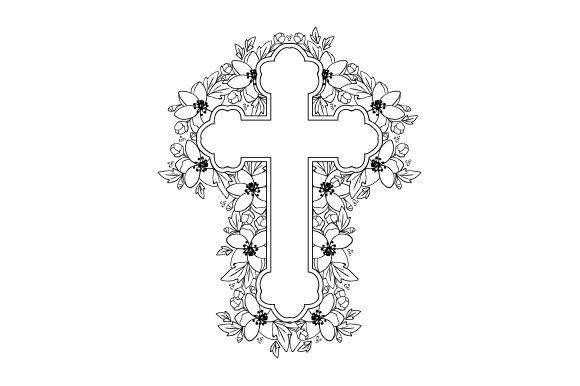 Cross with Florals Coloring Page Religion Plotterdatei von Creative Fabrica Crafts