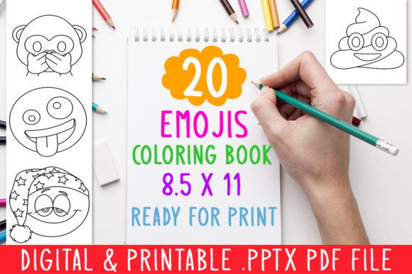 Print on Demand: 20 Emojis Coloring Book for Kids Graphic Graphic Coloring Pages & Books Kids By DesignsBundles