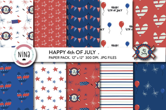 Download Free 4th Of July Digital Paper Pack Graphic By Nina Prints Creative Fabrica for Cricut Explore, Silhouette and other cutting machines.