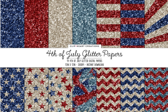 4th of July Glitter Papers Graphic Backgrounds By clipheartcreations