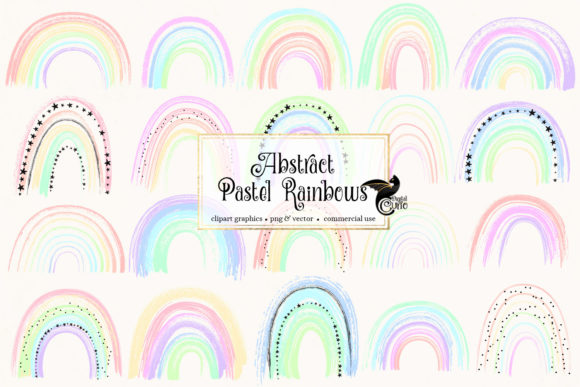 Print on Demand: Abstract Pastel Rainbows Clipart Graphic Illustrations By Digital Curio