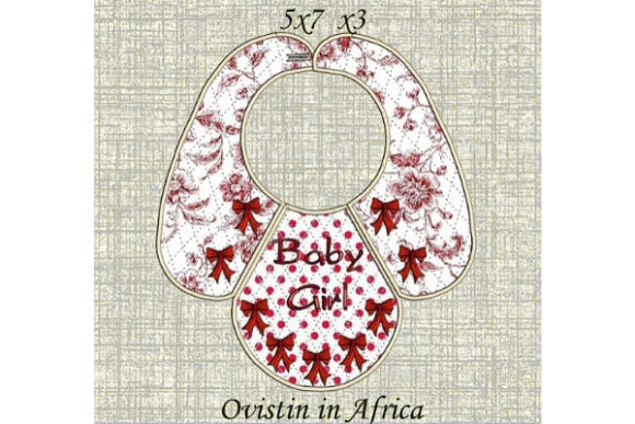Adorable Red Bows Baby Bib for Small Hoops Nursery Embroidery Design By Ovistin in Africa