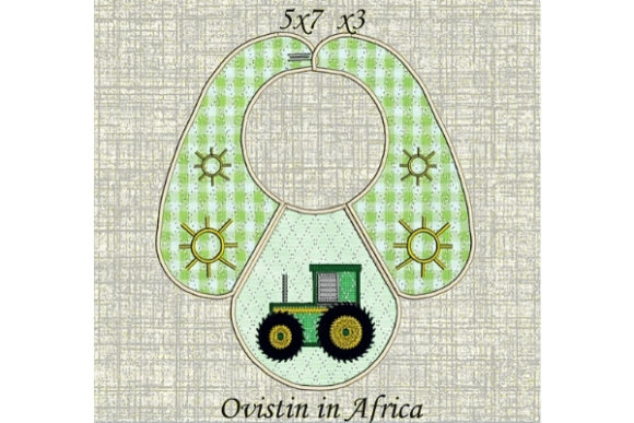 Download Free Adorable Tractor Baby Bib For Small Hoops Creative Fabrica for Cricut Explore, Silhouette and other cutting machines.