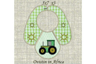 Adorable Tractor Baby Bib for Small Hoops Nursery Embroidery Design By Ovistin in Africa
