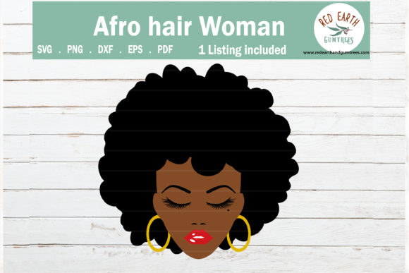 Download Free Afro Hair Woman Women Face Eyelashes Graphic By Redearth And for Cricut Explore, Silhouette and other cutting machines.