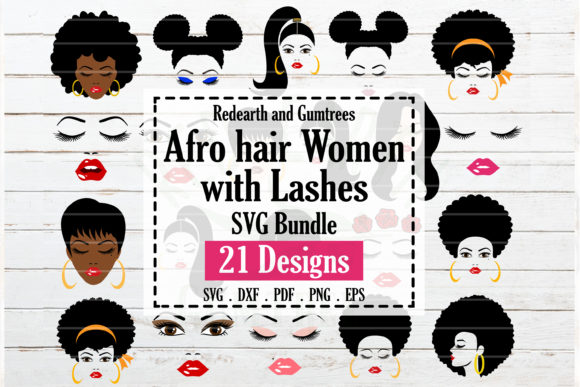 Download Free Afro Hair Women Bundle Women Faces Graphic By Redearth And for Cricut Explore, Silhouette and other cutting machines.