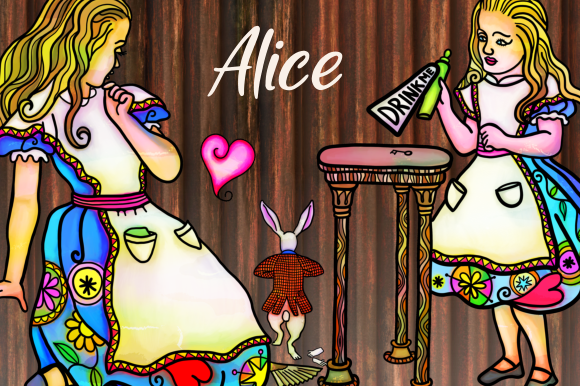 Print on Demand: Alice in Wonderland Watercolor Ink Set 1 Graphic Illustrations By Prawny