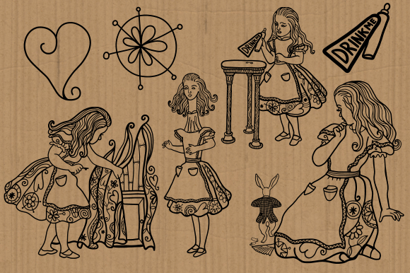 Download Free Alice In Wonderland Watercolor Ink Set 1 Graphic By Prawny for Cricut Explore, Silhouette and other cutting machines.