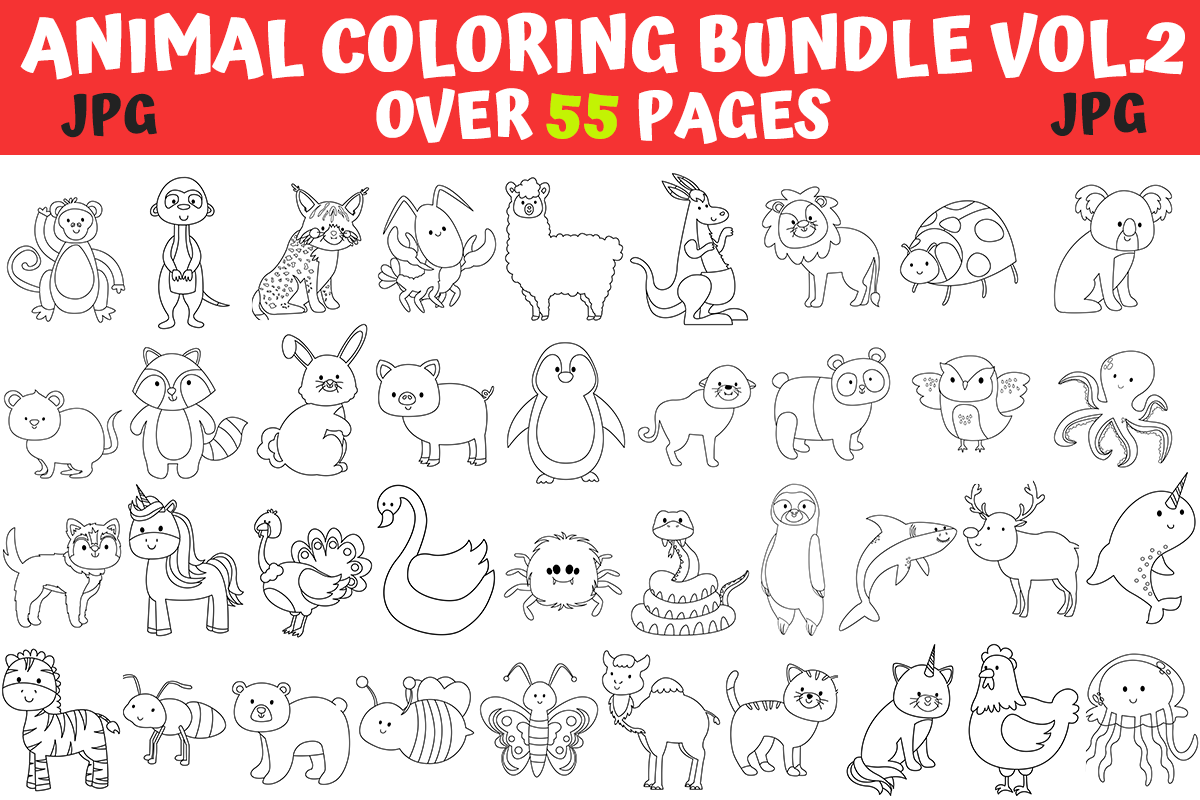 Animals Coloring Pages Bundle Vol 2 Bundle Creative Fabrica