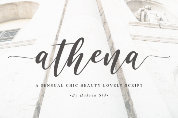 Print on Demand: Athena Script & Handwritten Font By Haksen