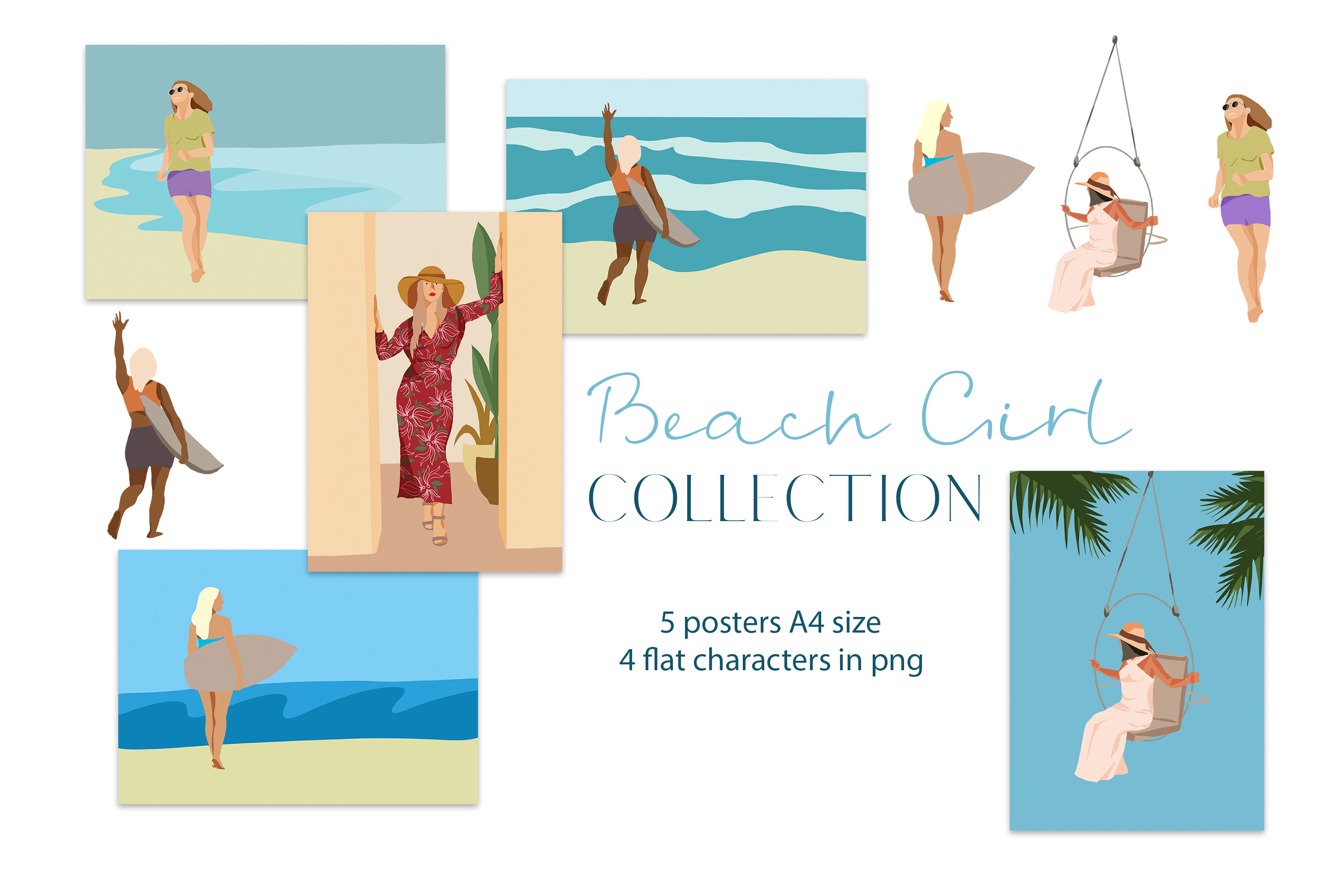 Download Free Beach Girl Illustration Posters Graphic By Primafox Design for Cricut Explore, Silhouette and other cutting machines.