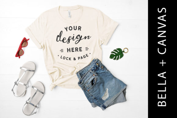 Download Free Bella Canvas 3001 Soft Cream Mockup Tee Graphic By Lockandpage for Cricut Explore, Silhouette and other cutting machines.
