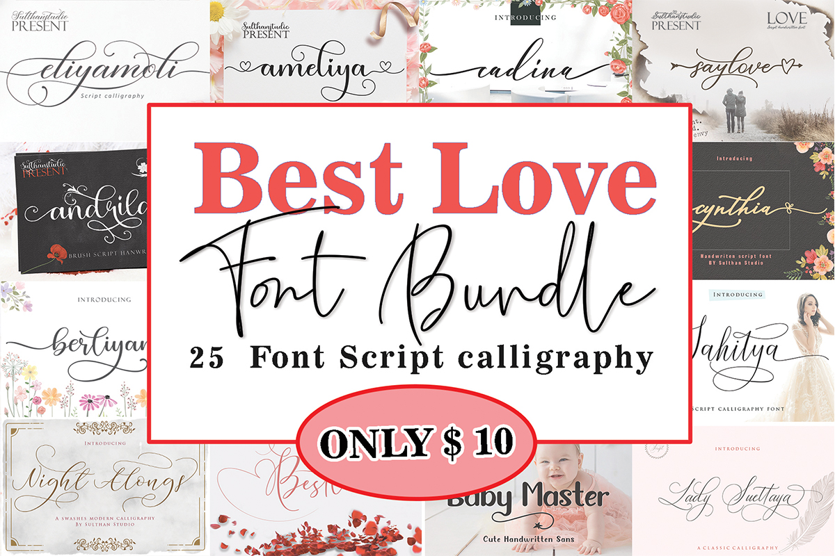 Download Free Best Love Font Bundle Bundle Creative Fabrica for Cricut Explore, Silhouette and other cutting machines.