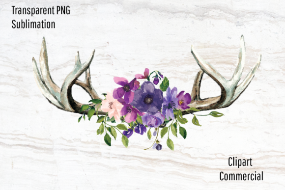 Print on Demand: Boho Antlers, Purple Watercolor Flowers Graphic Illustrations By Blueberry Jam Design