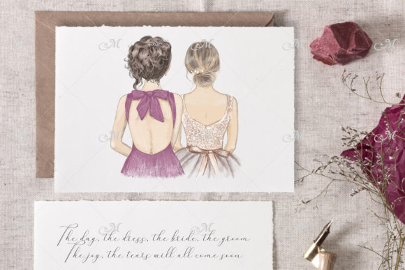 Bride & Bridesmaid Illustration 2 in 1 Graphic Illustrations By MaddyZ