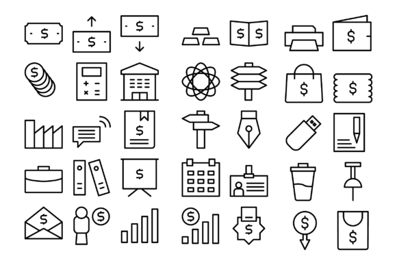 Download Free Business Icon Pack Graphic By Designvector10 Creative Fabrica for Cricut Explore, Silhouette and other cutting machines.