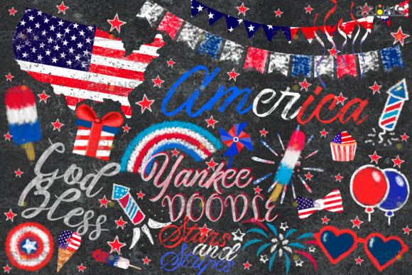 Download Free Chalk Art Overlay 4th Of July Photoshop Graphic By 2suns for Cricut Explore, Silhouette and other cutting machines.
