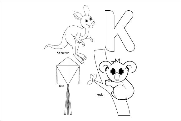 Download Free Coloring The Letter K For Children Graphic By Curutdesign Creative Fabrica for Cricut Explore, Silhouette and other cutting machines.