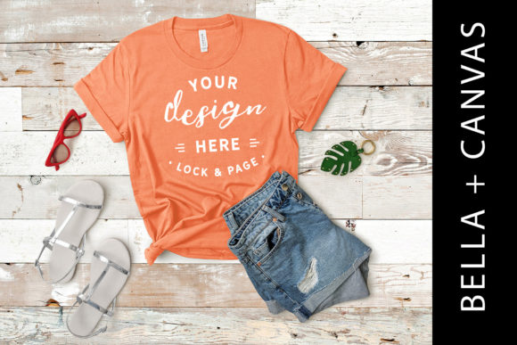 Download Free Coral Bella Canvas 3001 T Shirt Mockup Graphic By Lockandpage for Cricut Explore, Silhouette and other cutting machines.