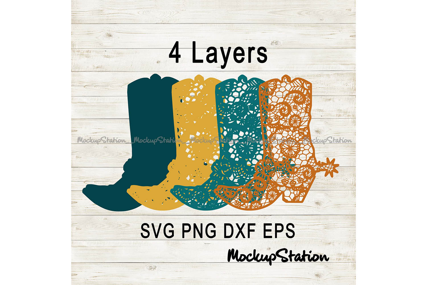 Download Free Cowboy Boot 3d Mandala Graphic By Mockup Station Creative Fabrica for Cricut Explore, Silhouette and other cutting machines.