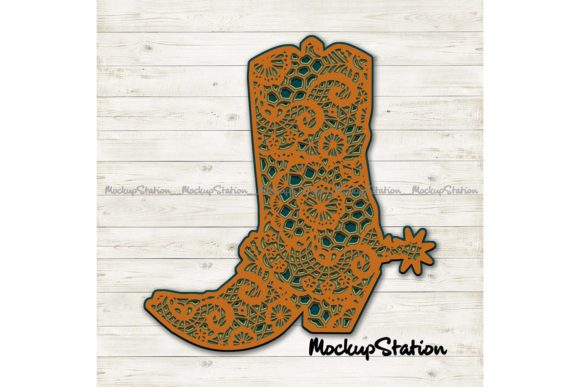 Print on Demand: Cowboy Boot 3D Mandala   Graphic 3D SVG By Mockup Station - Image 2