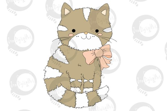 Cute Cartoon Cat with a Pink Bow Graphic Illustrations By Jen Digital Art