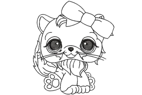 Cute Cat Cats Embroidery Design By BabyNucci Embroidery Designs