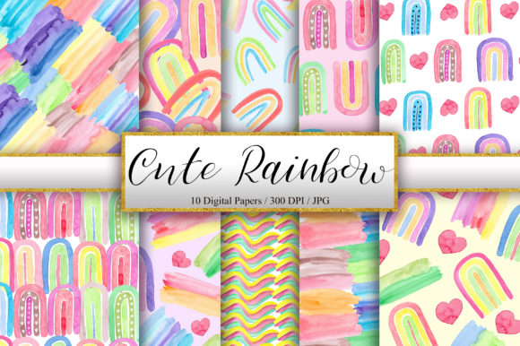 Cute Rainbow Watercolor Background Graphic Backgrounds By PinkPearly