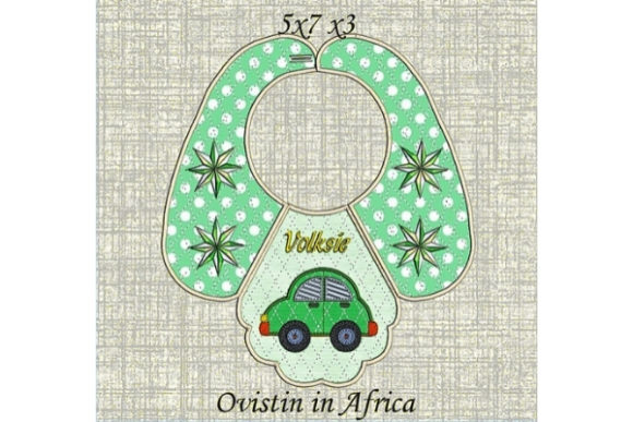 Download Free Cute Retro Car Baby Bib For Small Hoops Creative Fabrica for Cricut Explore, Silhouette and other cutting machines.