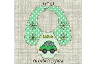 Cute Retro Car Baby Bib for Small Hoops Nursery Embroidery Design By Ovistin in Africa