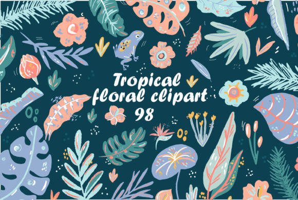 Cute Tropical Elements Clipart Set Graphic By Zolotovaillustrator Creative Fabrica