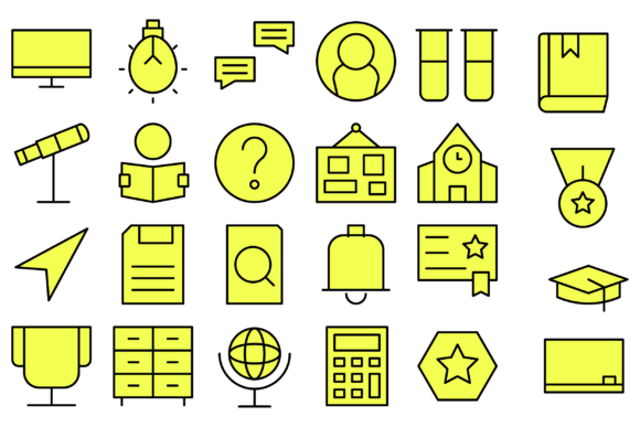 Education School Icons Graphic Icons By Designvector10