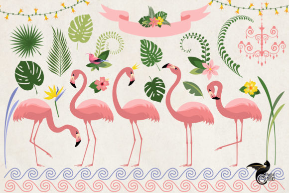 Print on Demand: Flamingo Paradise Clipart Grafik Illustrationen von Digital Curio